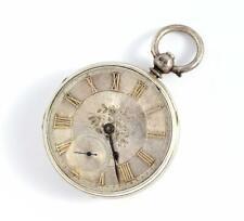 ANTIQUE 1869 STERLING SILVER OPEN FACED POCKET WATCH J FLINN & SONS - RUNNING