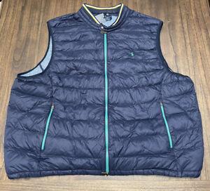 NWT Polo Ralph Lauren Performance Men's 3XB Blue White Duck Down Quilt Vest $198