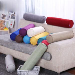 1x Cylindrical Sofa Car Back Cushion Office Nap Lumbar Pillow Cotton Linen Cover
