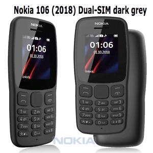 Big Button Basic Mobile Phone Nokia 106 Dual Sim Black Unlocked Brand New Sealed