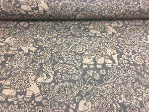 Indian Elephant Batik Cotton Pelt Grey 140cm wide Curtain/Craft Fabric