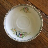 Vtg small tea saucer floral print gold trimmed Occupied Japan collectible