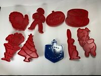 Tupperware  Red Cookie Cutters Holiday Christmas Blue Hanukkah Cutter Set Of 9