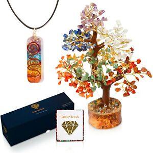 Seven Chakra Gemstone Healing Tree of Life - Includes Free Chakra Pendant Gift