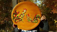 Vintage Retro Kitsch Folk Art Wooden Home Decor Fighting Rooster Painting Multi