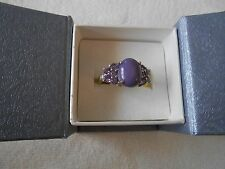 SIBERIAN CHAROITE AND AMETHYST RING SIZE 10