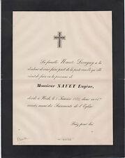 1889 Faire-part décès Eugène NAVET - Nesle (Somme).