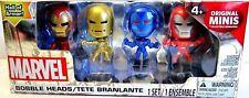 IRON MAN Box Set of 4  Mini Bobbleheads BLIP Marvel Comics Action Hero Toy BNIP