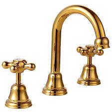 Pure 24K Yellow GOLD Mondella Maestro Bathroom Cross Basin Taps and Spout Set