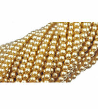 100 Gold Topaz Glass Pearl Round Beads 4MM LIMITED