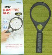 New H F Brand 3X Jumbo Magnifying Glass with 8X Inset Lens for Craft Projects