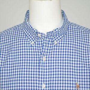 POLO RALPH LAUREN Oxford Classic Fit Blue White Check Cotton Casual Shirt XXL