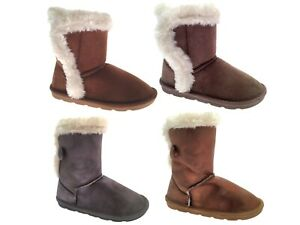 Girls Faux Suede Fur Boots Mid Calf Button Flat Shoes Warm Winter Kids Size