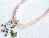 NEW Childrens Unicorn pendant peach beaded necklace fashion jewellery