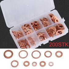 200 X Kupferringe Dichtring Sortiment Set Kupfer Dichtungen Ölablaßschrauben Box