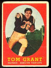 1958 TOPPS CFL FOOTBALL #15 TOM GRANT RC HOF VG HAMILTON TIGER CATS ROOKIE