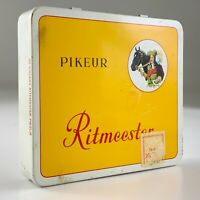 Ritmeester Pikeur Cigar Tin Tobacco Vintage Empty Yellow Hinged Holland U944