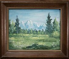 Old Oil Painting American Mountain Landscape, Brush & Palette Knife, BEAUTIFUL!