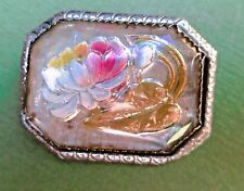 Antique Goofus Reverse Painted Intaglio Pressed Glass Faux MOP Flower Brooch