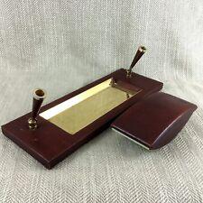 Asprey Leather Desk Set Tidy & Blotter Tray Pen Holder Vintage Retro