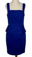 Portmans Womens Blue Sleeveless Lined Peplum Dress Size 10