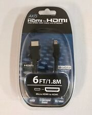 AXIS 41211 Micro HDMI to HDMI A Cable, 6 FT / 1.8M High Speed W/ Ethernet New