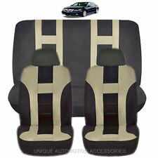 NEW BEIGE & BLACK POLYESTER AIRBAG READY SEAT COVERS COMBO 6PC SET FOR CARS 1124