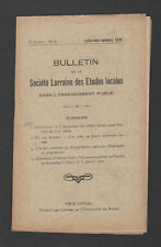 █ Bulletin Société LORRAINE Etudes Locales 1930 N°6 █