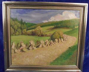 """Barthel Gilles """"Hügelige Sommerlandschaft mit Kornhocken"""" 1956 Ölgemälde"""