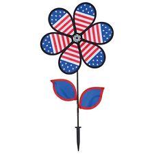 "PATRIOTIC FLOWER WITH LEAVES PINWHEEL 4TH OF JULY 12"" DIAMETER X 24"". NYLON"
