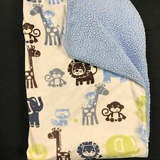 Baby of Mine Carters Blue Jungle Animal Sherpa Baby Blanket Elephants Lions