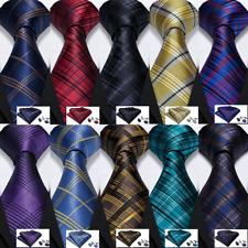 USA Men's Ties Lot Red Black Blue Plaids & Checks Silk Necktie Set Wedding