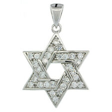 Sterling Silver Jewish Star of David Pendant w/ Cubic Zirconia Stones