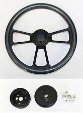 "Falcon Thunderbird Galaxie Steering Wheel Carbon Fiber on Black 14"" Plain Cap"