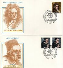 GERMANY -1980 - 2 FDC - EUROPA - FAMOUS PEOPLE  FLEETWOOD  STAMP ON STAMP