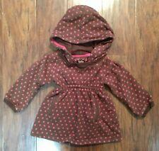 Baby Gap Girls Hooded Dress Brown Pink Polka Dots Soft Fleece Size 12-18m