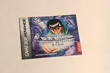 Nintendo Gameboy Advance- Yu Yu Hakusho Ghost Files- Instructions Manual Booklet