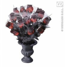 VASES 15 RED ROSES & SPIDERWEB Decoration for Spider Halloween Witch Party