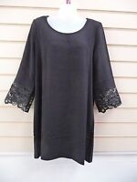DRESS BLACK SIZE SMALL -10  LACE SLEEVE DETAIL PARTY TUNIC (G020