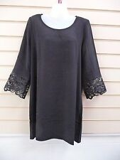 VILA DRESS BLACK SIZE SMALL -10  LACE SLEEVE DETAIL PARTY TUNIC (G020
