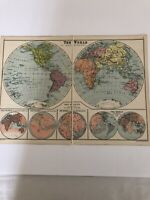Antique 1930 Map: The World In Hemispheres Old Original Vintage Colour Print