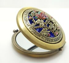 Brass Tone and Rhinestone Pocket Mirror Regular and Magnified Sides A8G900