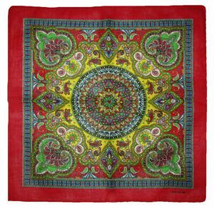 "22""x22"" Ornate Paisley Mosaic Multi Color Red Border Bandana"