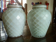 Pair of quilted satin finished milk glass vases with gilded rim (slight uranium)