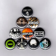 """INDUSTRIAL1"""" PINS / BUTTONS w/ SKINNY PUPPY KMFDM MINISTRY GODFLESH NIN patch"""