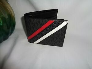 Michael Kors Cooper Billfold Pass Case Bifold Wallet Black Crimson MK Logo