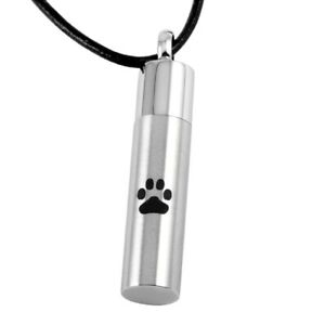 """Mens Cremation Pendant Urn Keychain 1"""" Key Ring for Ashes Pet Dog Cat Paw Print"""