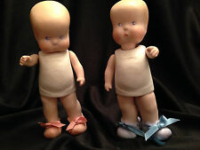 Vintage Hebee Shebee 1925 Replica Jointed Strung Porcelain Bisque Doll Set 6""