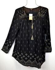Lucky Brand Womens 1X Top Black Bandana Print Peasant Top Blouse Tunic NEW