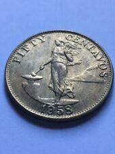 PHILIPPINES 1958 Fifty Centavo Coin KM 190 AU+